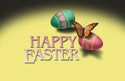 Butterfly and Colorful Easter Eggs Stock Photos