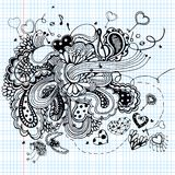 Graphic illustration with music notes Stock Photography
