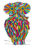 Graphic illustration owl. variegated color Royalty Free Stock Photo