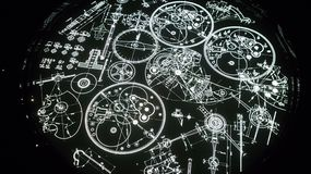 Clock constructin parts graphic in black and light stock photos