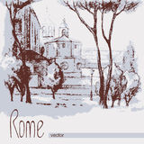 Graphic illustration of Rome. Poster. Duotone Royalty Free Stock Image