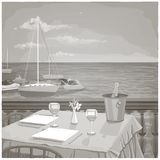 Graphic illustration with served restaurant table for two against ocean landscape. Black and white Royalty Free Stock Photography