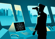 Graphic illustration of a ship captain. Using a binoculars in navigation room royalty free illustration