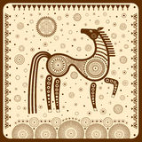 Graphic illustration with a stylized horse in tribal style. Stock Images