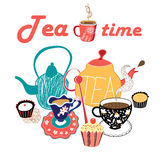 Graphic illustration of a tea set Royalty Free Stock Images