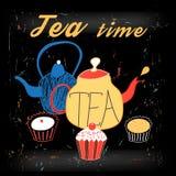 Graphic illustration of teapots Stock Photos