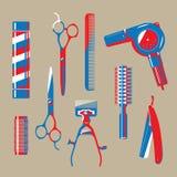 Graphic illustration of vintage barbershop items. Including scissors, razor, blow dryer and comb, etc vector illustration