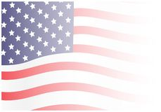 Faded Waving American Flag Background. A graphic illustration of a waving American flag fading into white royalty free illustration