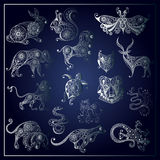 Graphic illustration of wild animals_set 2 Royalty Free Stock Photography