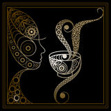 Graphic illustration of the woman with a cup of tea 4 Royalty Free Stock Photo