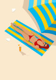 Graphic illustration of a woman sunbathing Stock Images