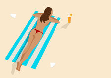 Graphic illustration of a woman sunbathing Royalty Free Stock Photography