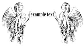 Graphic illustration of a woman with wings framing text. Vector graphics drawing two women framed text, a female figure with wings peacock , black and white Stock Photography