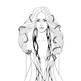 Graphic illustration with young woman. Monochrome illustration with young woman Royalty Free Stock Image
