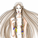 Graphic illustration with young woman. Graphic multicolor illustration with young woman Royalty Free Stock Image
