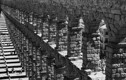 Ancient Roman Raised Aqueduct, Segovia, Spain. Graphic image of the Ancient Roman raised aqueduct, Segovia, Castile and Leon, Spain stock photo