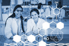 Composite image of graphic image of chemical structure Stock Images