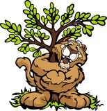 Graphic  Image of a Happy Cougar Hugging a Tree. Tree Hugger Mountain Lion or Cougar Cartoon   Illustration Stock Images