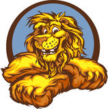 Graphic Image of a Happy Cute Lion Mascot. Lion with Paws Smiling Mascot Illustration Stock Images