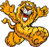 Graphic Image of a Happy Running Lion Mascot. Smiling Lion Running with hands Mascot Illustration Royalty Free Stock Image