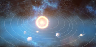 Graphic image of solar system 3d Royalty Free Stock Photos
