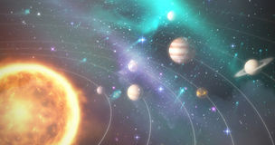 Graphic image of various planets with sun 3d Stock Photos