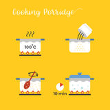 Graphic info of cooking porridge in pot step by step Royalty Free Stock Photo
