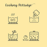 Graphic info of cooking porridge in pot Stock Photography