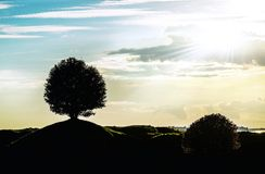 Graphic landscape silhouette with a signal tree Royalty Free Stock Photos