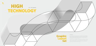 Graphic layout set with abstract curved vector shape, reminiscent of technological development. Royalty Free Stock Photo