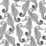 Graphic Leafy Seadragon seamless pattern. Graphic Leafy Seadragon drawn in a line art style. Sea horse. Ocean seamless pattern. Coloring book page design Stock Photo