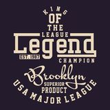 Graphic LEAGUE LEGEND CHAMPION. Design alphabet and numbers LEAGUE LEGEND CHAMPION for t-shirts Royalty Free Stock Photography