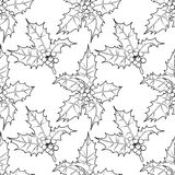 Graphic leaves and berries seamless pattern Royalty Free Stock Images