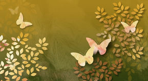 Graphic Leaves and butterflies abstract. Graphic digital illustration of simple leaves and butterflies against a hand painted textured background Royalty Free Stock Photography