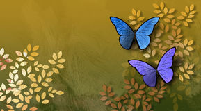 Graphic Leaves and Butterflies. Graphic digital illustration of simple leaves and butterflies against a hand painted textured background Stock Images