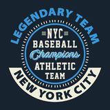 Graphic LEGENDARY TEAM NYC BASEBALL Stock Photography