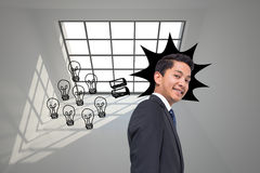 Graphic with light bulbs on grey background Royalty Free Stock Images