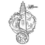 Graphic lighthouse during a storm Royalty Free Stock Photos
