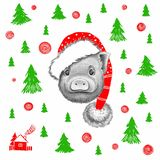 Graphic little pig in Santa Claus hat vector illustration
