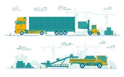 Factory loading. Graphic of loading truck and forklift in operating process, concept of industrial shipment royalty free illustration