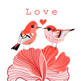 Graphic love birds Stock Images