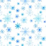 Graphic lovely artistic tender wonderful holiday new year bright winter blue snowflakes pattern watercolor. Beautiful abstract graphic lovely artistic tender royalty free illustration