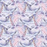 Graphic low poly unicorn. Cute graphic low poly unicorn in pastel colors. Vector fantasy seamless pattern stock illustration