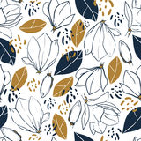 Graphic magnolia flowers,buds,leaves and jungle spots. Vector trendy seamless pattern in deep blue and mustard colors. Royalty Free Stock Photo