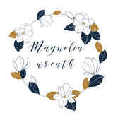 Graphic magnolia wreath in deep blue and bronze colors. Trendy vector hand draw illustartion with magnolia flowers,buds and leaves Stock Photo