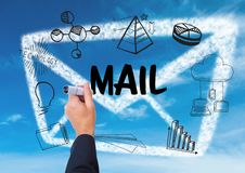 Graphic about mail with hand writing it Stock Photo