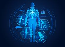 Body x ray. Graphic of man's body x-ray with digital science interface of skeleton and bones scan for biological infographics vector illustration