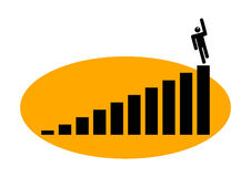 Graphic man in a chart Stock Images