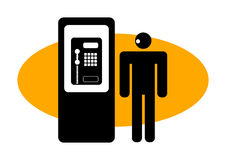 Graphic man at a public phone Stock Photography