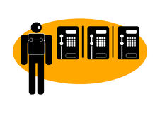 Graphic man with public phones Royalty Free Stock Photo